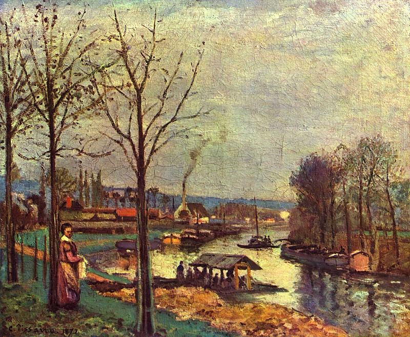 Wash-House at Bougival, 1872 2, Camille Pissarro