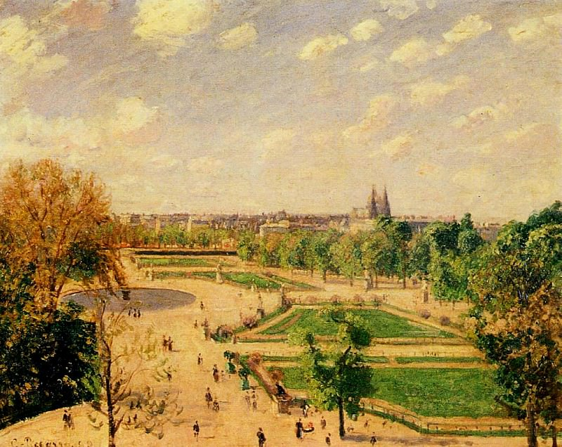 The Tuilleries Gardens - Morning, Spring, Sun. 1899, Camille Pissarro