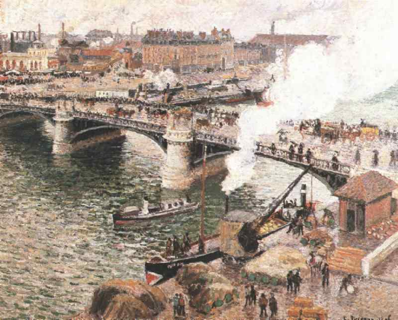 Pissarro Bouidieu Bridge, Rouen, Damp Weather, 1896, Art gal, Camille Pissarro