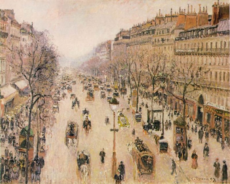 Pissarro Le Boulevard Montmartre. Morning, grey weather, 189, Camille Pissarro