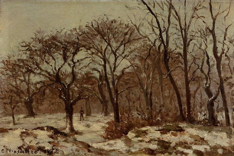 Chestnut Orchard in Winter. 1872, Camille Pissarro