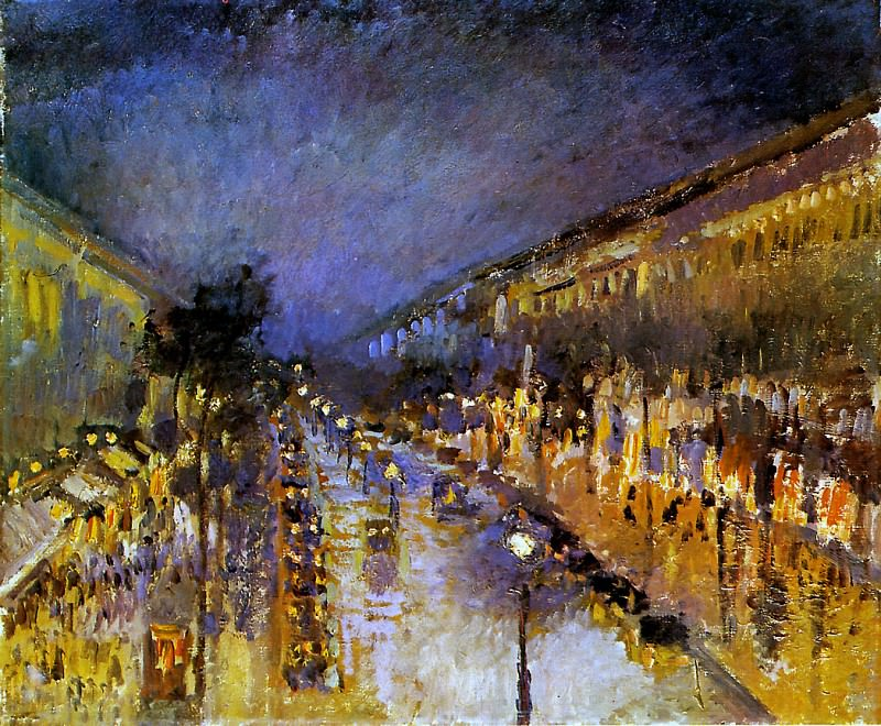 Boulevard Montmartre at Night , Camille Pissarro