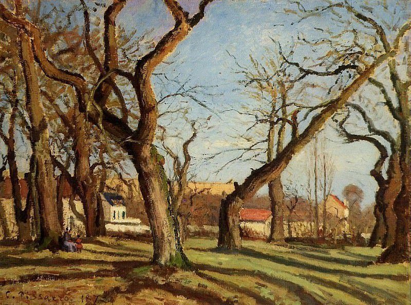 Groves of Chestnut Trees at Louveciennes. 1872, Camille Pissarro