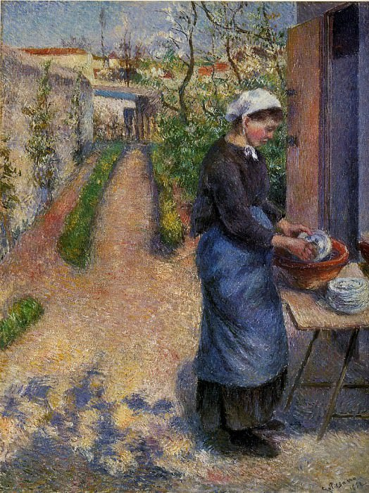 Young Woman Washing Plates. 1882, Camille Pissarro