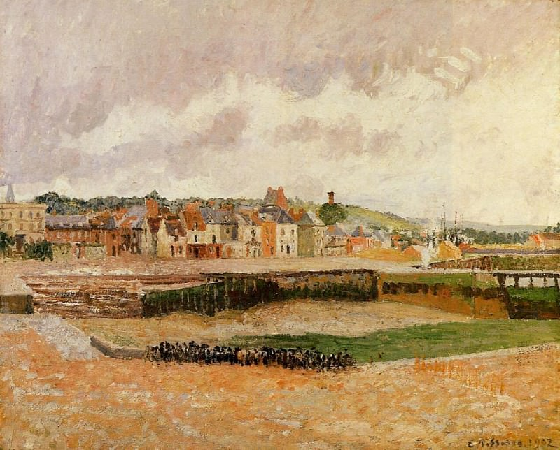 Afternoon, the Dunquesne Basin, Dieppe, Low Tide. 1902, Camille Pissarro