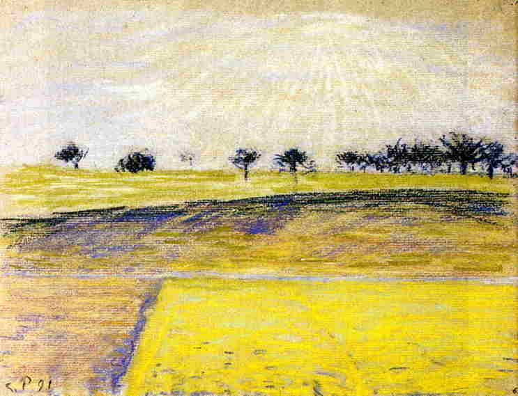 Sunrise over the Fields, Eragny. 1891, Camille Pissarro