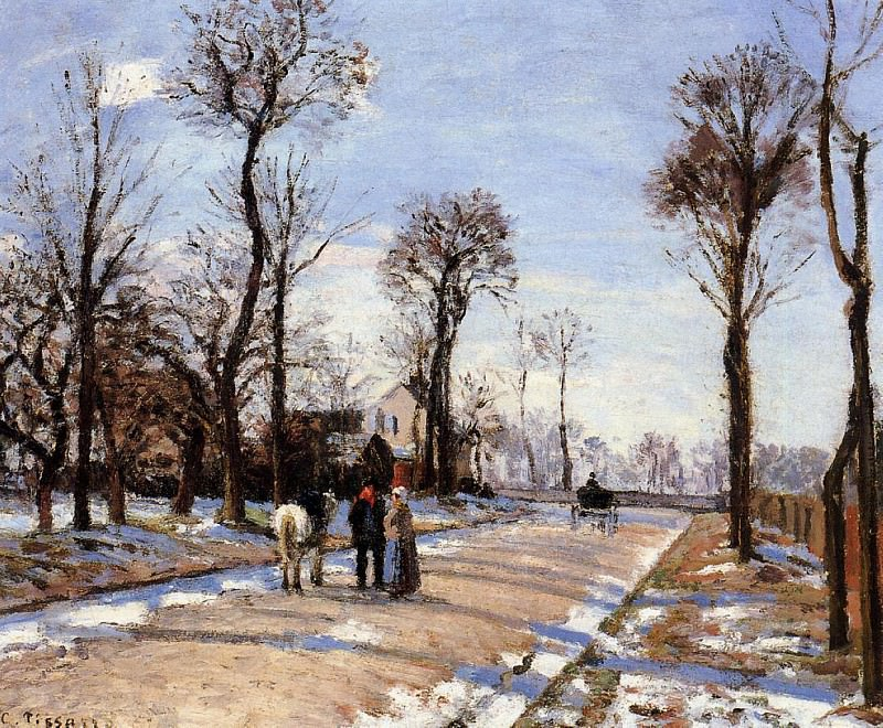 Street - Winter Sunlight and Snow. 1872, Camille Pissarro