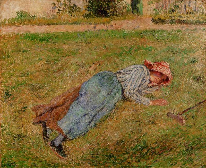 Resting, Peasant Girl Lying on the Grass, Pontoise. 1882, Camille Pissarro
