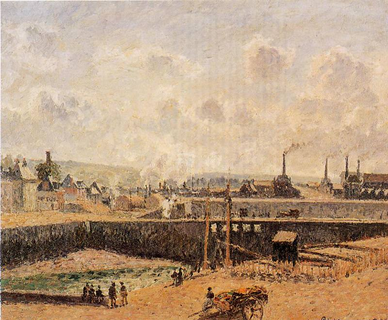 Dieppe, Dunquesne Basin, Low Tide, Sun, Morning. 1902, Camille Pissarro