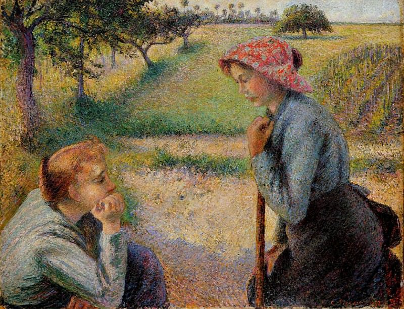 Two Peasant Woman Chatting. 1892, Camille Pissarro