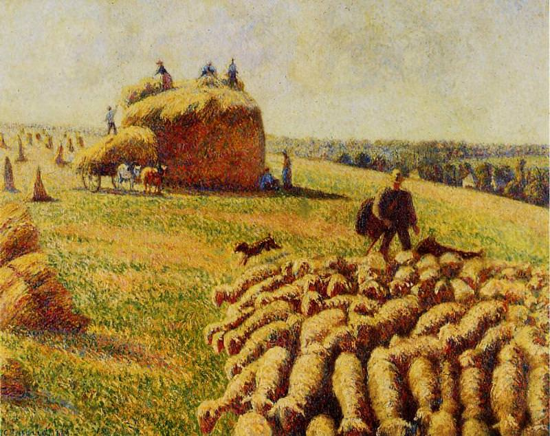 Flock of Sheep in a Field after the Harvest. 1889, Camille Pissarro