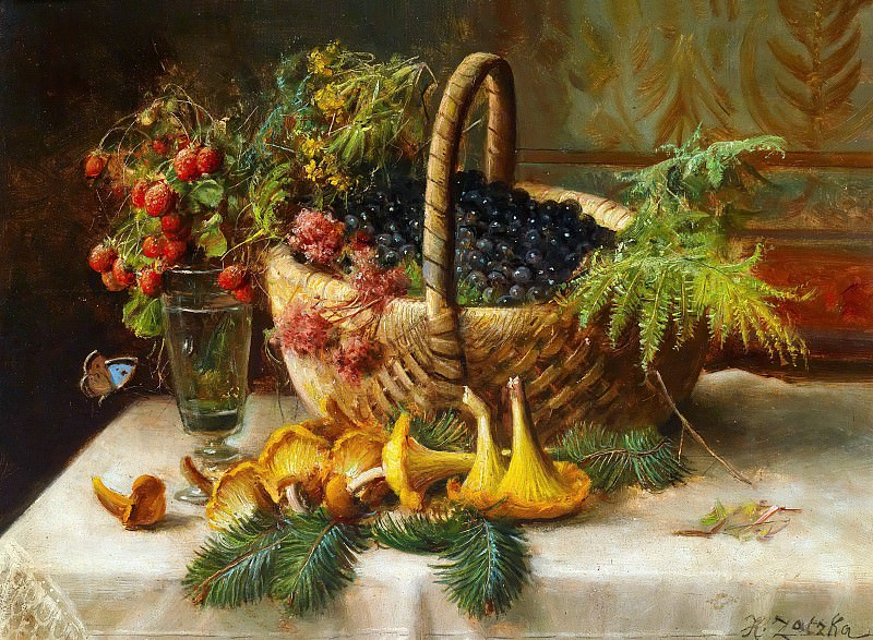 Still life with berries and mushrooms, Hans Zatzka