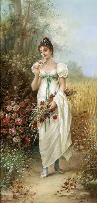 Girl with Meadow Flowers and Roses, Hans Zatzka