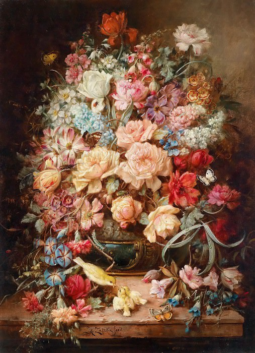 Large floral still life with butterflies, Hans Zatzka