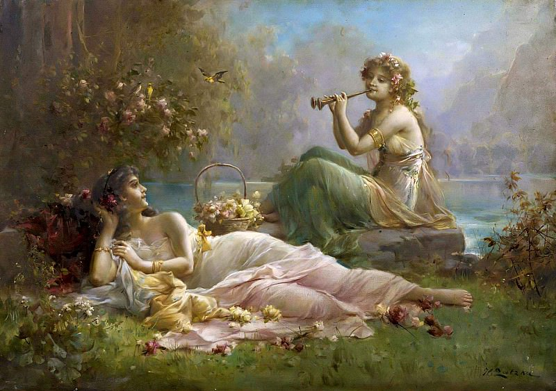 Two Nymphs by the water, Hans Zatzka