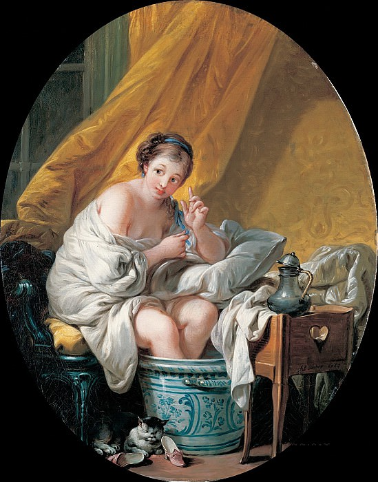 Young woman taking a footbath, Francois Boucher