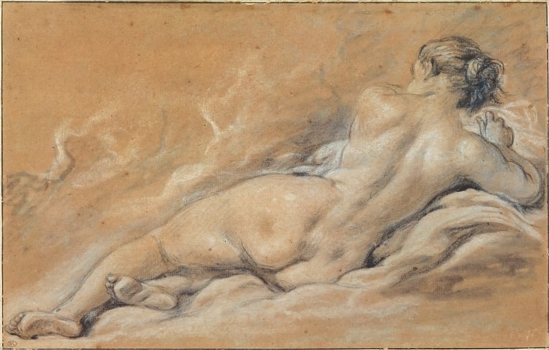 Reclining nude woman seen from behind, Francois Boucher