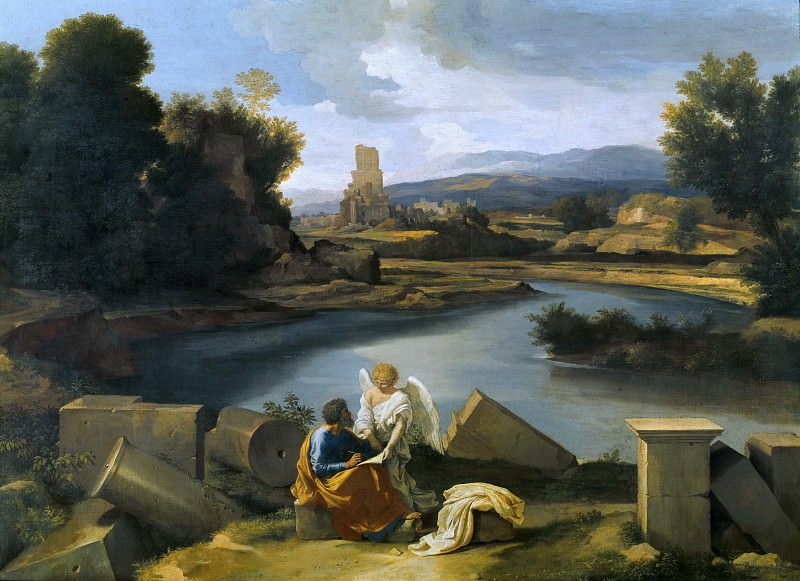 Landscape with St Matthew and the Angel, Nicolas Poussin