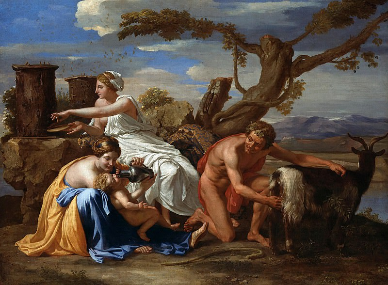 Jupiter nourished as a child The Goat Amalthea, Nicolas Poussin