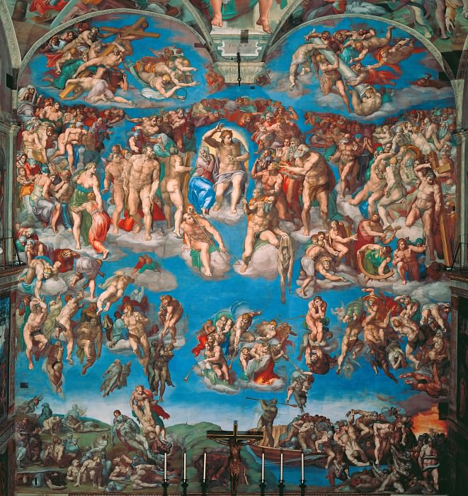Last Judgement after restoration 1990-94, Michelangelo Buonarroti