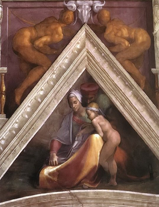Salmon with his parents, Michelangelo Buonarroti