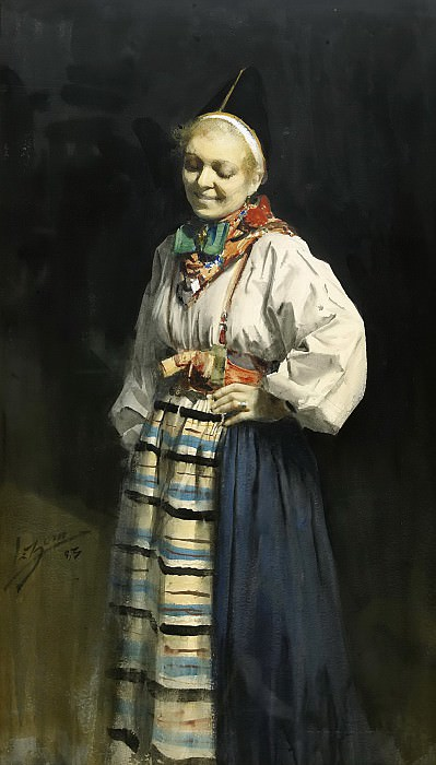 Woman in traditional clothes, Anders Zorn