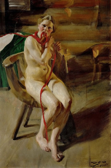 Nude braiding her hair, Anders Zorn