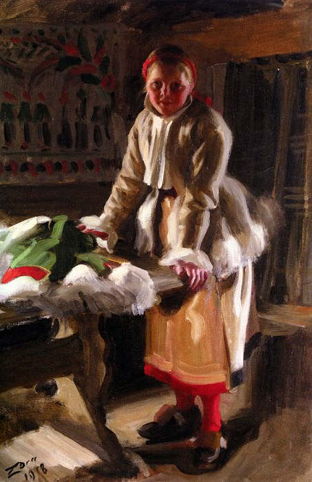 A Girl from Mora in Winter costume 1918, Anders Zorn