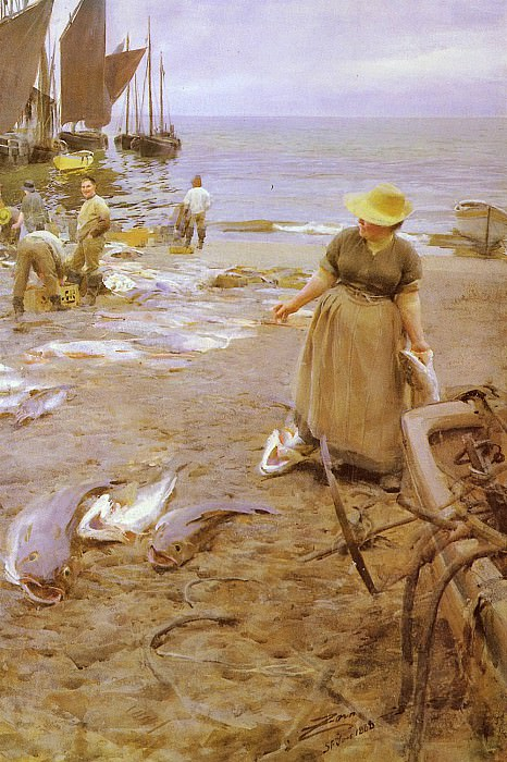 Fiskmarknad I St Ives, Anders Zorn