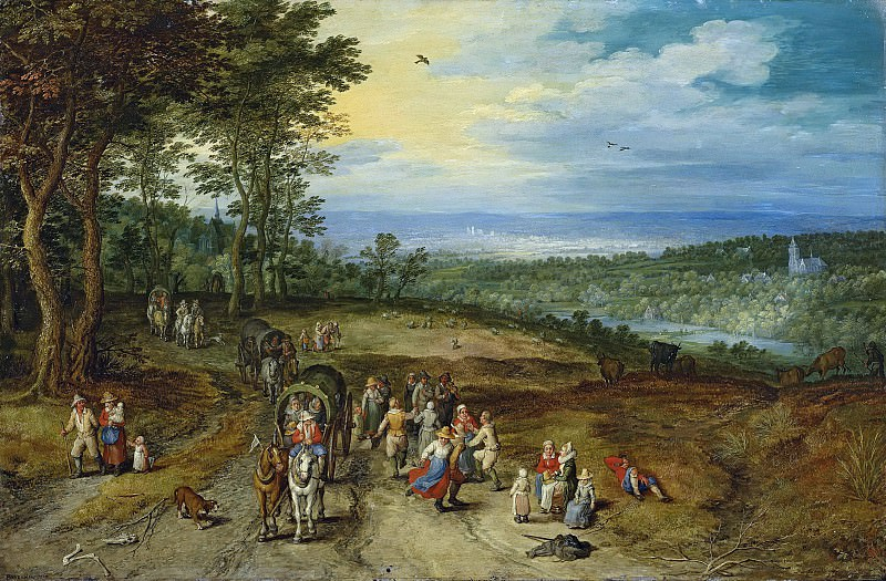 Landscape with Travellers and Peasants on a Track, Jan Brueghel The Elder