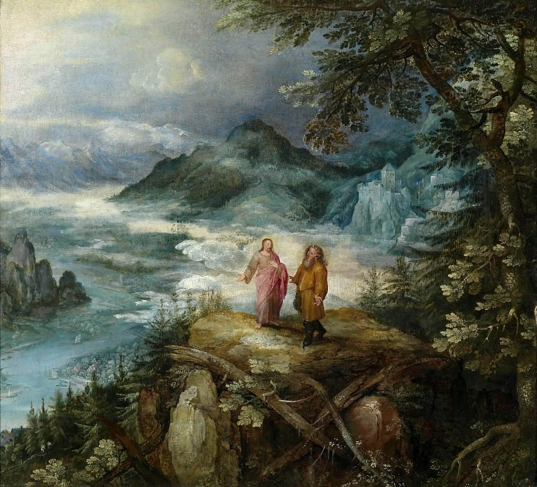 Mountain Landscape with the temptation of Christ, Jan Brueghel The Elder