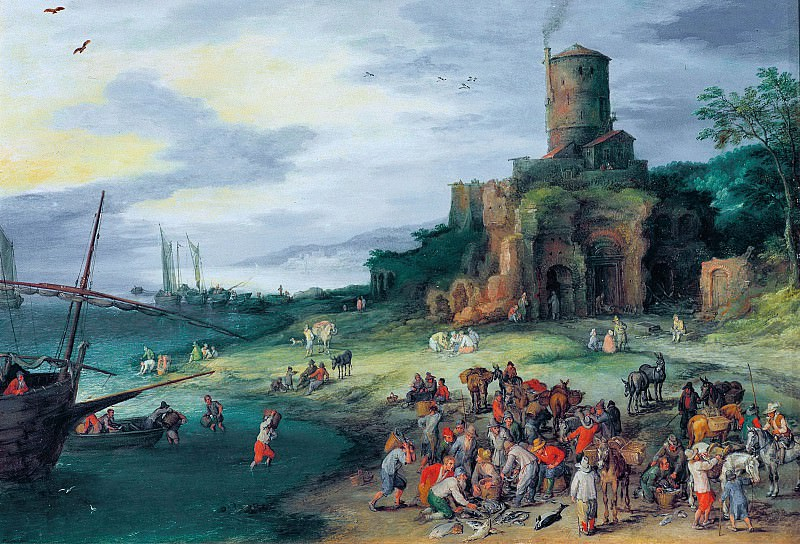 Seascape with Tomb of the Scipios, Jan Brueghel The Elder