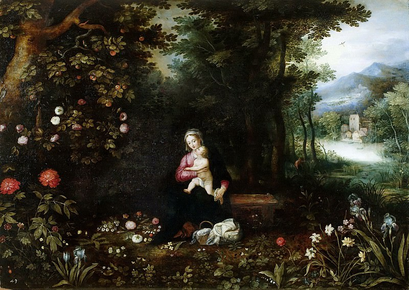 Wood landscape with rest on the flight to Egypt, Jan Brueghel The Elder