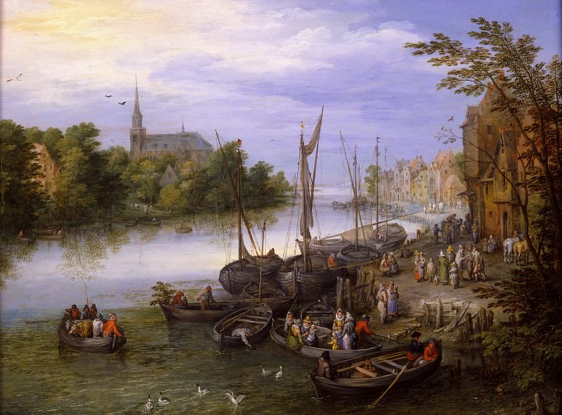 Riverside Village with Landing Stage, Jan Brueghel The Elder