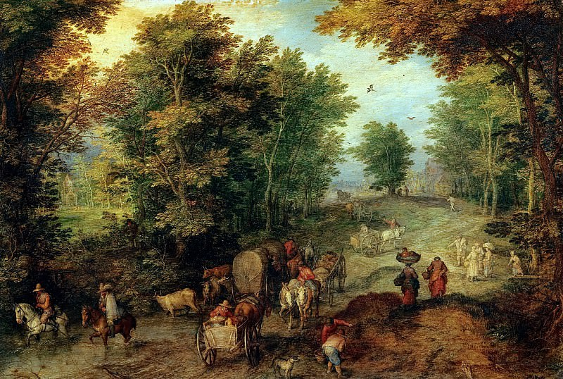 Landscape with a Ford, Jan Brueghel The Elder