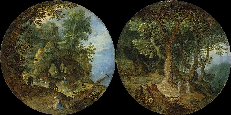 Rocky Landscape with the rest on the flight to Egypt and Forest Landscape with the Temptation of Christ, Jan Brueghel The Elder