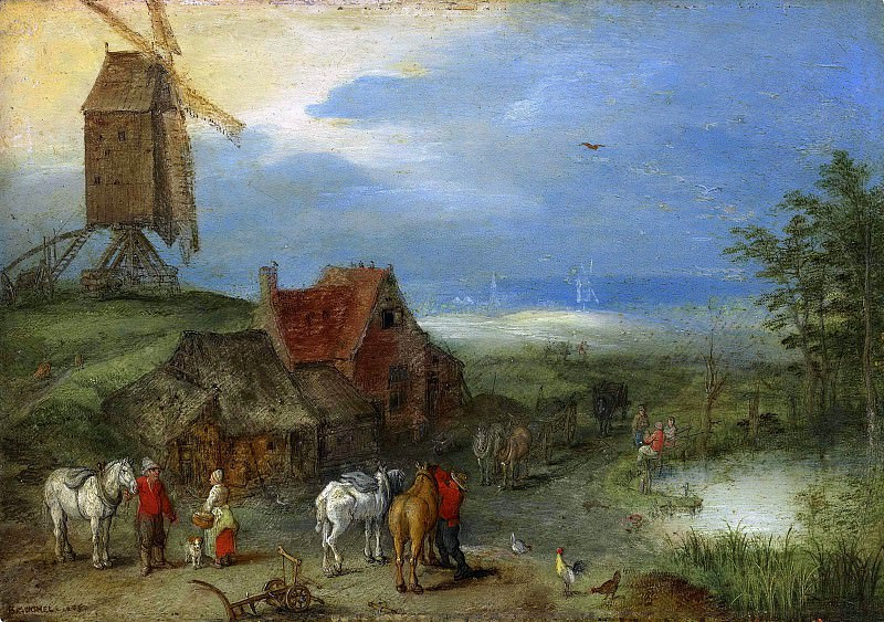 Landscape with a windmill, figures and horses by a farmstead, Jan Brueghel The Elder