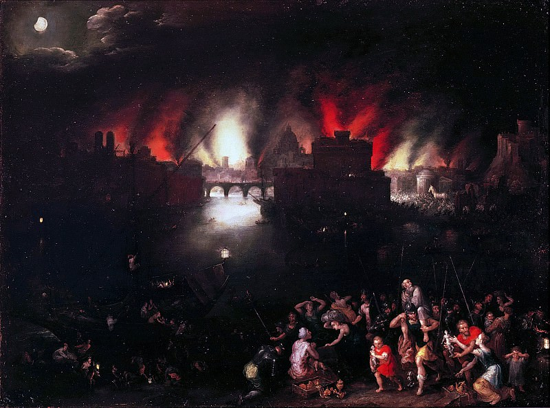 The burning Troy, Jan Brueghel The Elder