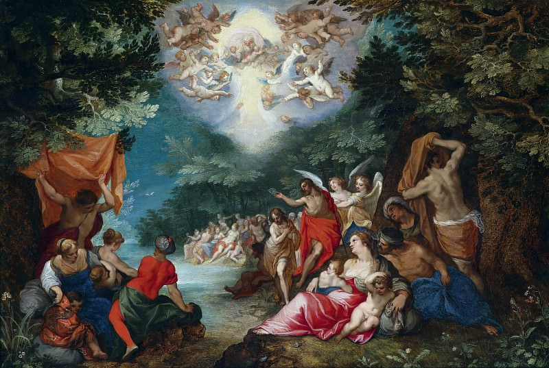 The baptism of Christ in the river Jordan, Jan Brueghel The Elder
