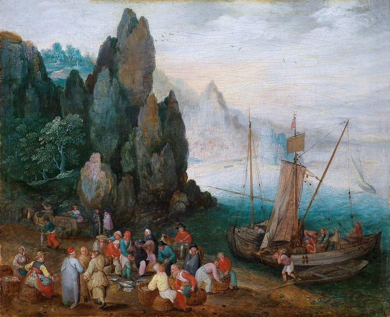 A coastal landscape with fish market, Jan Brueghel The Elder