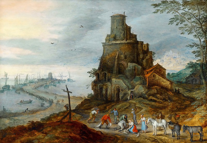 A Coastal Landscape with Fishermen with their Catch by a Ruined Tower, Jan Brueghel The Elder