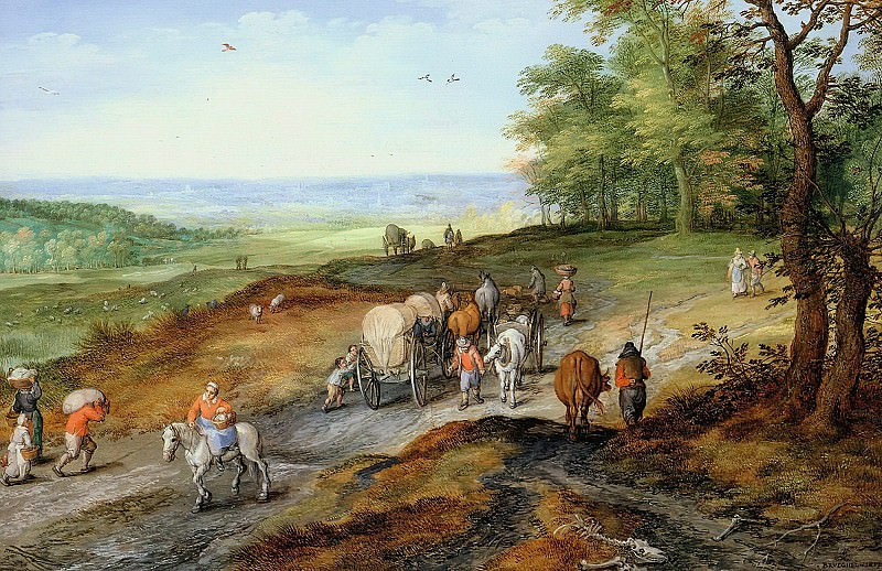 Returning from the market, Jan Brueghel The Elder