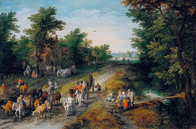 Landscape with Travellers and Inn, Jan Brueghel The Elder
