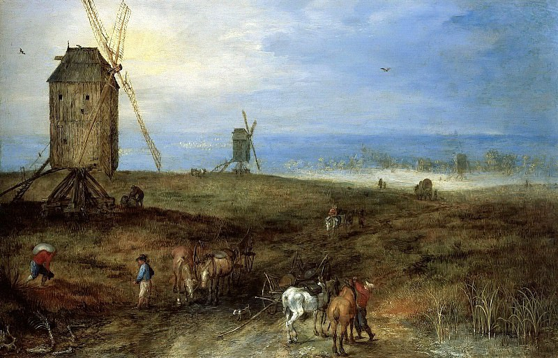 LANDSCAPE WITH TRAVELLERS BEFORE A WINDMILL, Jan Brueghel The Elder