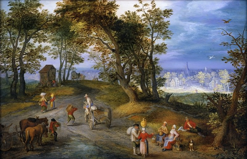 Landscape with figures on a road, Jan Brueghel The Elder