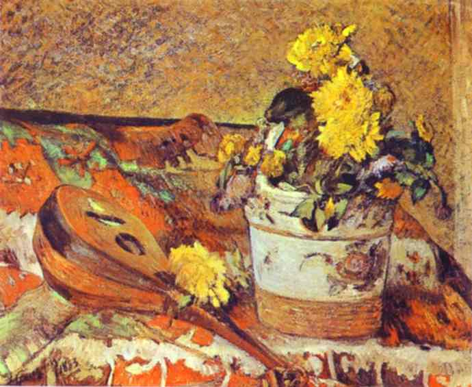 Mandolina And Flowers, Paul Gauguin