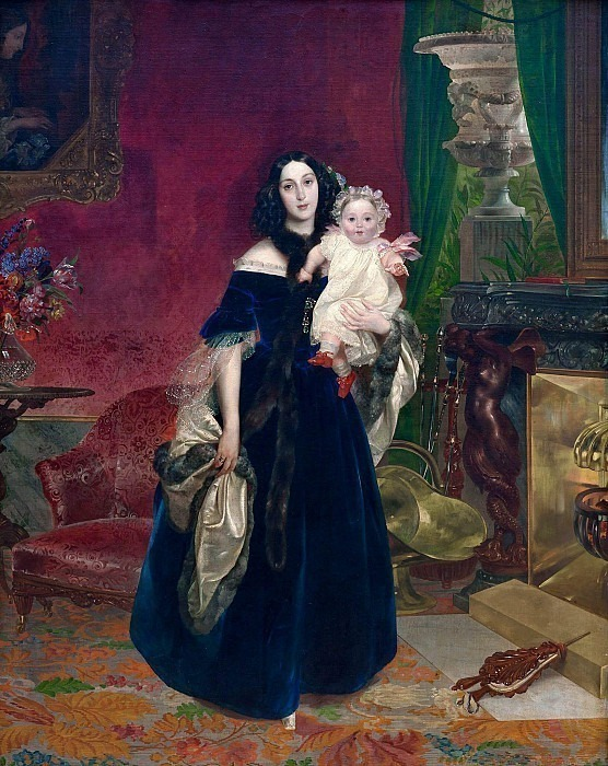 Portrait of MA Beck and his daughter MI Beck., Karl Pavlovich Bryullov