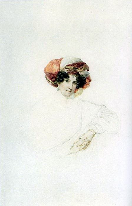 Portrait of an Unknown Woman in a turban. Around 1830, Karl Pavlovich Bryullov