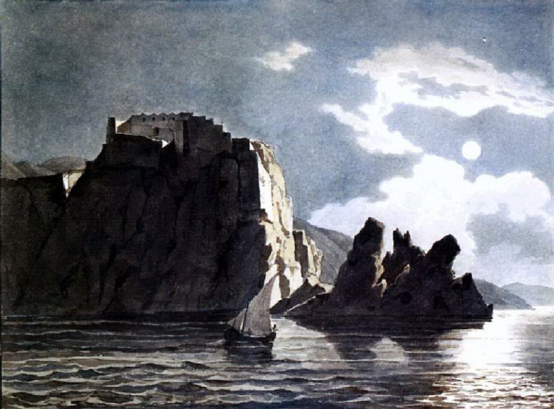 Rock and the moon at night. 1824, Karl Pavlovich Bryullov