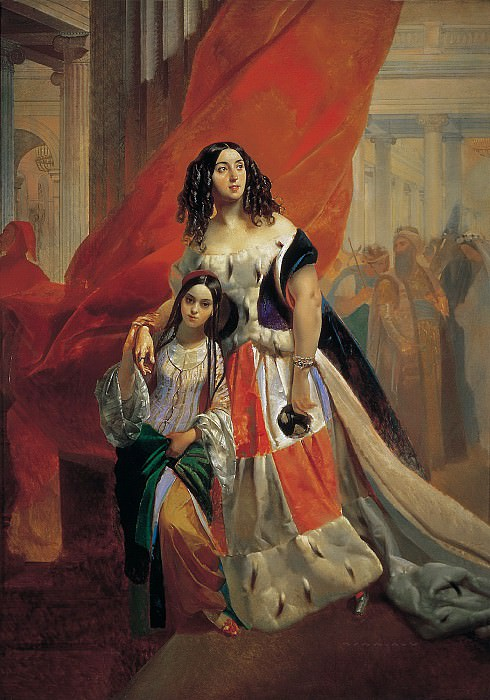Portrait of Countess Julia Samoilova, moving away from the ball with the stepdaughter Amatsiliey Pachchini., Karl Pavlovich Bryullov